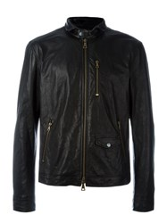 John Varvatos Zipped Leather Jacket Black
