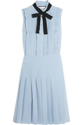 Gucci Ruffled Pleated Silk Crepe De Chine Mini Dress Sky Blue