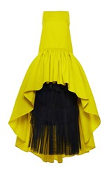 Martin Grant Silk Wool A Line Boatneck Ruffle Gown Yellow