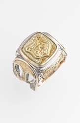 Konstantino 'Byzantium' Two Tone Rectangle Shield Ring Silver