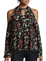 Romeo And Juliet Couture Floral Printed Cold Shoulder Top Black Multicolor