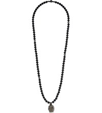 Nialaya Onyx And Silver Skull Necklace Black