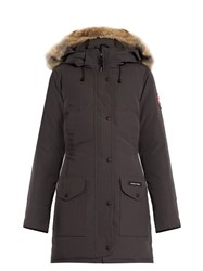 Canada Goose Trillium Fur Trimmed Down Coat Dark Grey