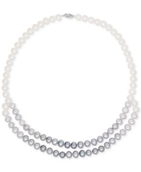 Macy's Honora Style Cultured Freshwater Pearl 8Mm Gray Ombre Double Strand Necklace In 14K White Gold