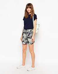 Le Mont St Michel Silk Mix Shorts In Tree Print Navy