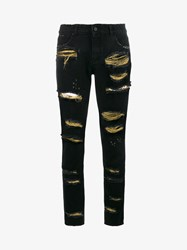 Filles A Papa Distressed Jeans With Gold Threading Black
