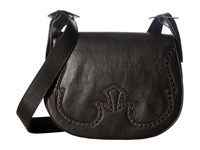 Just Cavalli Cow Leather With Holes Shoulder Bag Black