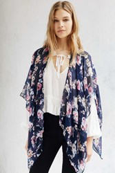 Urban Outfitters Rose Garden Lightweight Open Poncho Dark Blue