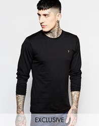 Farah T Shirt With F Logo Slim Fit Exclusive Long Sleeves Black
