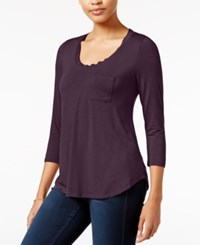 Maison Jules Three Quarter Sleeve Scoop Neck T Shirt Only At Macy's Plum Perfect