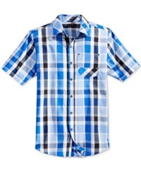 Sean John Men's Big And Tall Plaid Short Sleeve Shirt Victory Blue