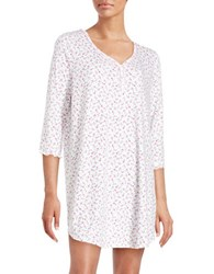 Karen Neuburger Plus Floral Cotton Blend Sleepshirt White