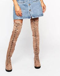 Truffle Collection Lace Up Over The Knee Chunky Boot Nude Micro Beige