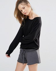 Wildfox Couture Essentials Baggy Beach Jumper Jet Black Rpt