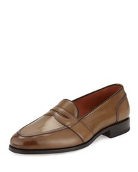 Tom Ford Taylor Burnished Leather Penny Loafer Brown
