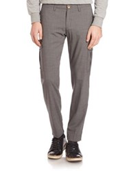 Eleventy Main Flannel Stretch Cargo Pants Dark Grey