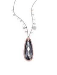 Meira T Hematite Diamond 14K Rose And White Gold Teardrop Pendant Necklace Gold Multi