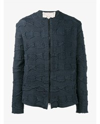 By Walid Liam Pleated Cotton Jacket Black Linen Denim