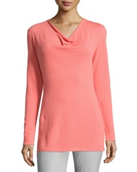 Lafayette 148 New York Cashmere Long Sleeve Cowl Neck Sweater Rosebud