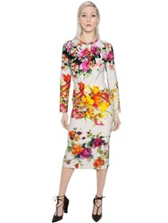 Blumarine Floral Printed Fitted Stretch Cady Dress