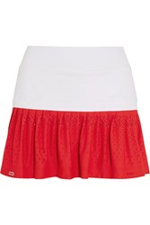L'etoile Sport Pleated Stretch Satin Jersey And Lace Tennis Skirt White