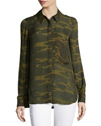 Haute Hippie Long Sleeve Button Down Camouflage Print Shirt Military Multi