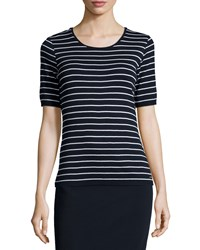 Escada Striped Diamond Pointelle Tee Navy