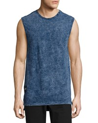 True Religion Elongated Sleeveless Muscle Tee Indigo Mineral Water Men's