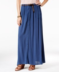 American Rag Button Front Belted Maxi Skirt Only At Macy's Dark Denim