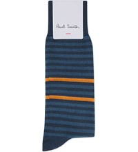 Paul Smith Twisted Neon Striped Cotton Socks Blue