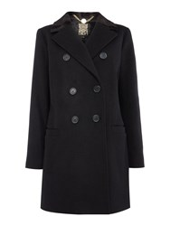 Biba Faux Fur Collar Wool Mix Coat Black