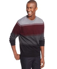 Club Room Merino Wool Colorblocked Crew Neck Sweater Only At Macy's Deep Black