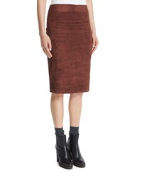 Brunello Cucinelli Suede Pencil Skirt Henna