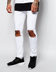 Jaded London Super Skinny Jeans With Frayed Knee Rips White