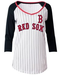 5Th And Ocean Women's Boston Red Sox Pinstripe Glitter Raglan T Shirt White
