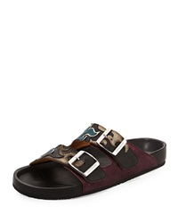 Isabel Marant Flame Embossed Double Buckle Slide Sandal