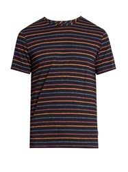 Oliver Spencer Breton Striped Cotton Jersey T Shirt Navy Multi