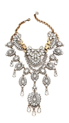 Laura Cantu Vintage Extra Large Rhinestone Necklace Clear Brass