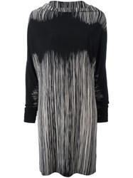 Norma Kamali Striped Shift Dress Black