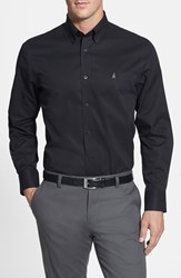 Men's Big And Tall Nordstrom Smartcare Traditional Fit Twill Boat Shirt Black