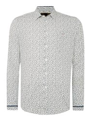 Merc Ditsy Floral Classic Fit Long Sleeve Shirt Off White