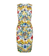 Dolce And Gabbana Printed Ruched Waist Pencil Dress Female Yellow