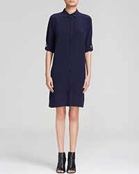 Magaschoni Trimmed Silk Shirt Dress