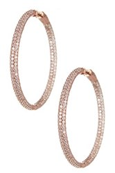 Doublanc Rose Gold Plated Sterling Silver Pave Cz Hoop Earrings Metallic