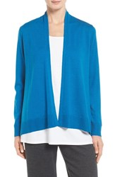 Eileen Fisher Women's Merino Jersey Angle Cardigan Crystal Blue
