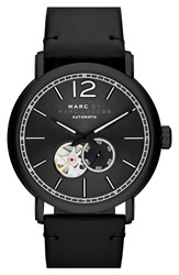 Marc By Marc Jacobs 'Fergus' Leather Strap Watch 42Mm Black