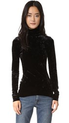 Tibi Stretch Velvet Turtleneck Black