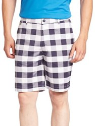 Lacoste Gingham Checked Shorts White Navy