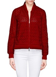 Moncler 'Dery' San Gallo Lace Bomber Jacket Red