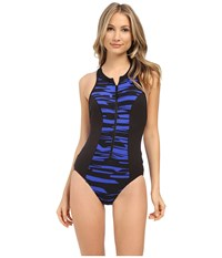 Seafolly Fastlane Scuba X Back Maillot Blue Ray Women's Swimsuits One Piece